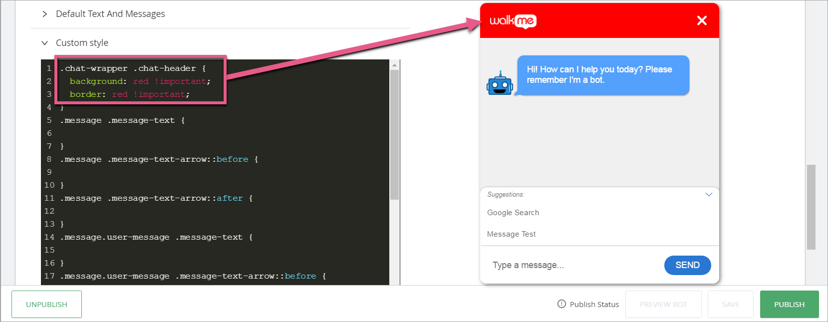 How to Change the ActionBot Custom Style (CSS) - WalkMe Support